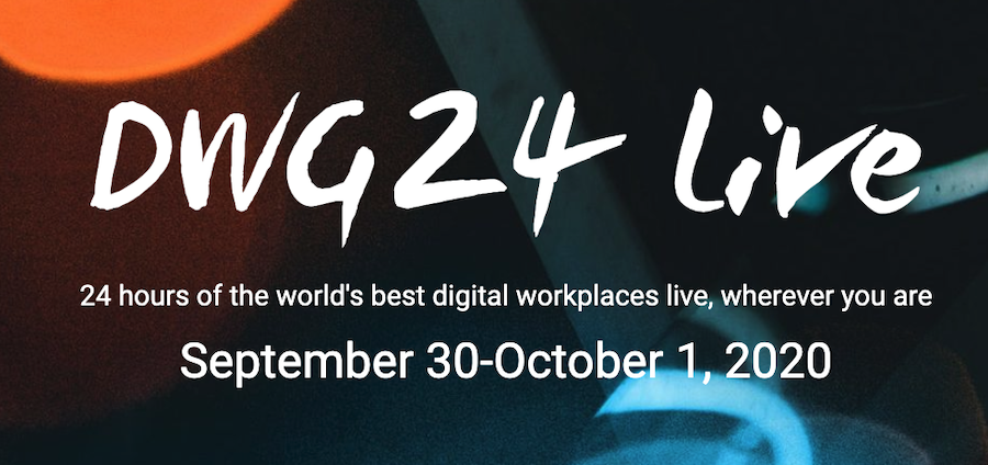 Poster advertising DWG 24 Live event with text naming the event and colorful background
