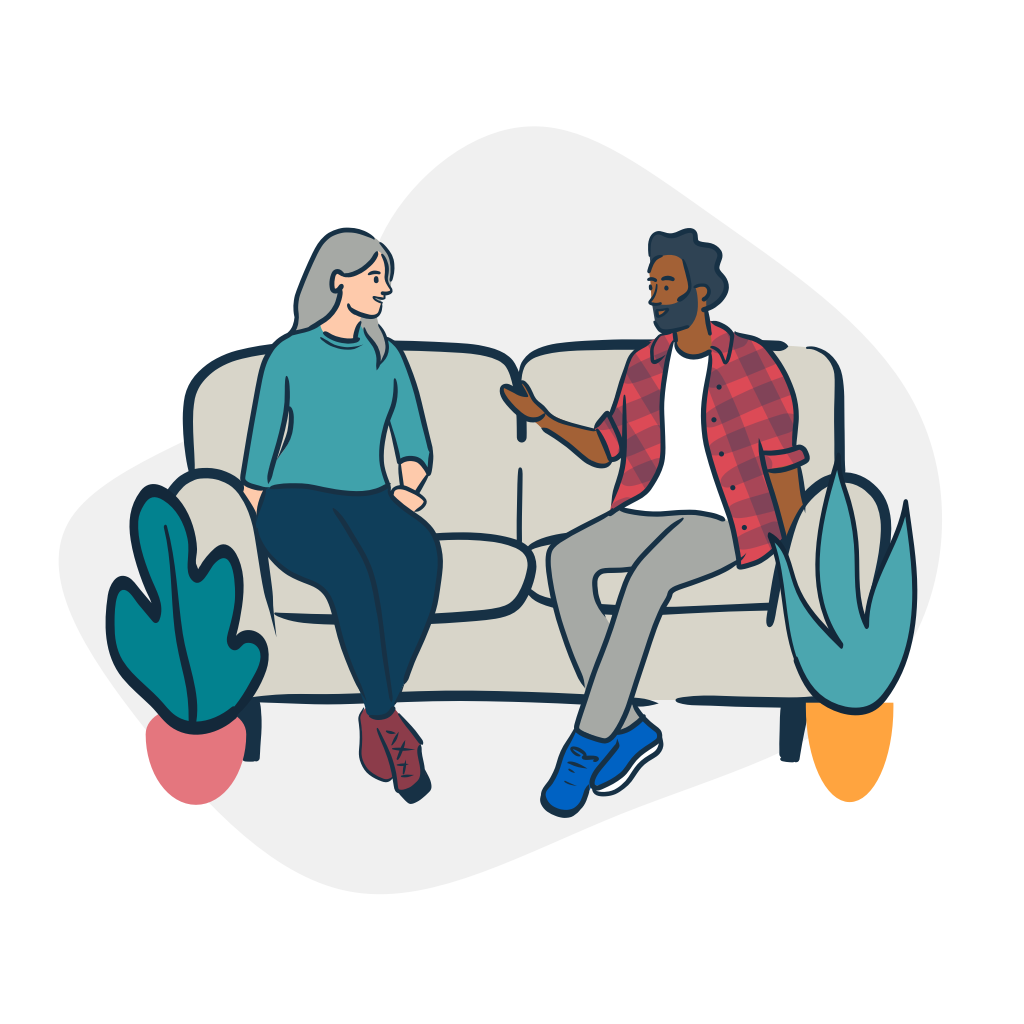 Illustration of two people talking on a couch