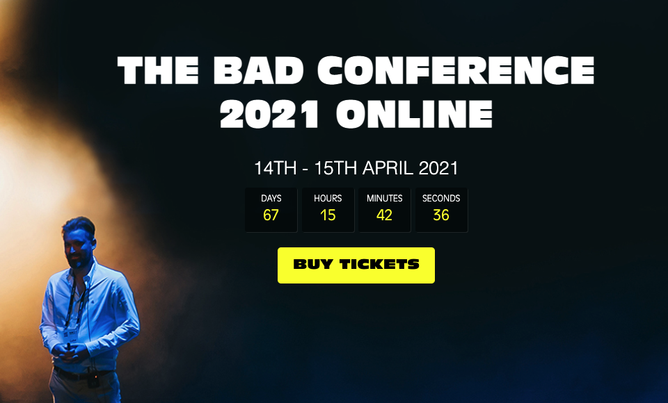 Screenshot of home page for Bad Conference
