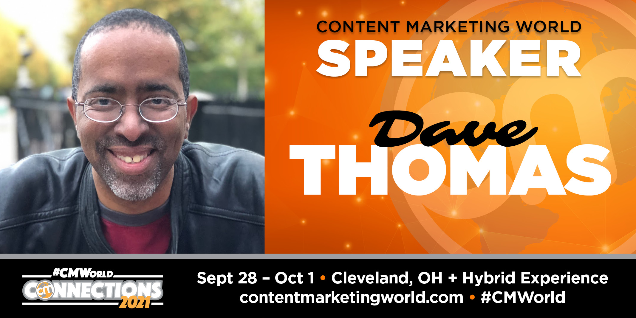 Banner announcing David Dylan Thomas as a speaker at Content Marketing World event