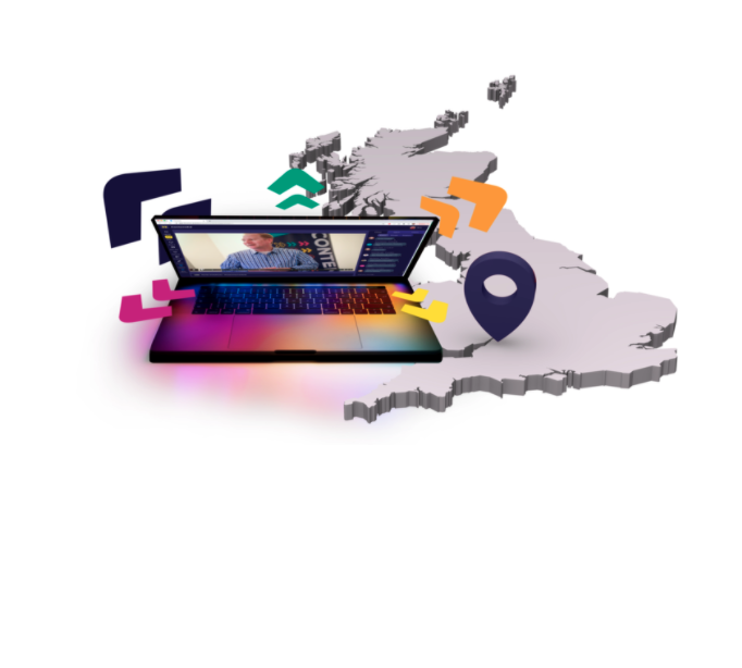 Graphic from ContentEd homepage consisting of laptop on top of greyed out map of great britain